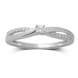 Unending Love 10k White Gold 1/6ct TDW Diamond Round Center Engagement Ring (H-I, I1-I2)