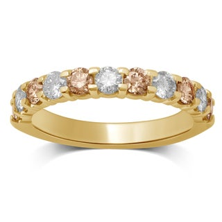 Unending Love 10k Yellow Gold 1ct TDW White and Brown Diamond Machine Band (I-J, I1-I2)