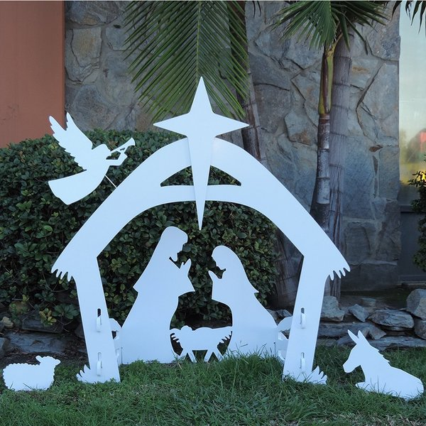 giant outdoor nativity scene white pvc large christmas yard decoration set - Outdoor Christmas Decorations Nativity Scene