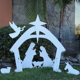 Giant Outdoor Nativity Scene White PVC Large Christmas Yard Decoration Set|https://ak1.ostkcdn.com/images/products/13403268/P20098965.jpg?impolicy=medium