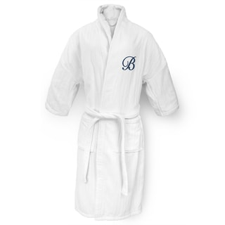 Kaufman White Cotton Navy Monogram Railroad Robe