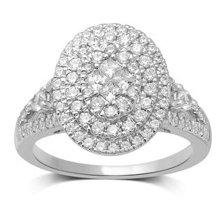 Unending Love 10k White Gold 1ct TDW Diamond Cluster Top Fashion Ring (H-I, I1-I2)