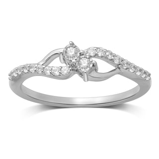 Unending Love 10 White Gold 1/5ct TDW Diamond 2-stone Fanuk Fashion Ring (I-J, I2-I3)