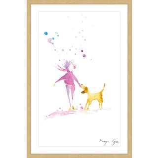 Marmont Hill - 'Woman & Dog' by Maya Gur Framed Painting Print