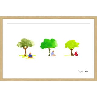 Marmont Hill - 'Three Meditators' by Maya Gur Framed Painting Print