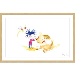 Marmont Hill - 'A Girl and a Dog' by Maya Gur Framed Painting Print
