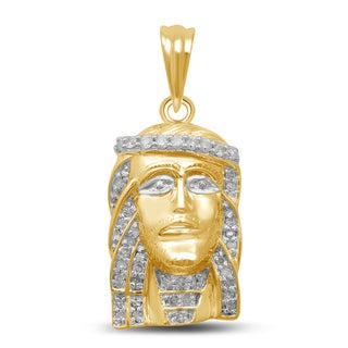 Unending Love 10k Yellow Gold 1/3ct TDW Diamond Jesus Face Necklace (I-J, I2-I3)