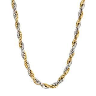 """Two-Tone Stainless Steel Men's Rope Chain Necklace, 24"""""""