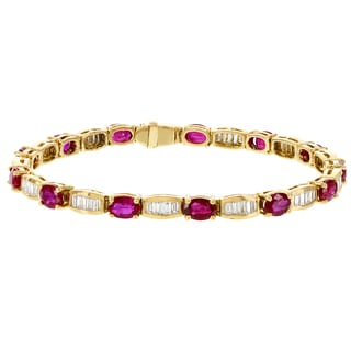 H Star 14k Yellow Gold Ruby and 2 3/4ct TDW Diamond Bracelet (G-H, VS1-VS2)