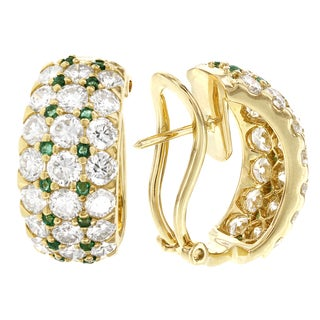 H Star 18k Yellow Gold 4 1/2ct TDW Diamond and Emerald Accent Half Band Hoop Earrings (G-H, VS1-VS2)