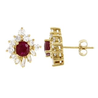 H Star 18k Yellow Gold Rubies and 1 1/6ct Diamond Fancy Stud Earrings (G-H, SI1-SI2)
