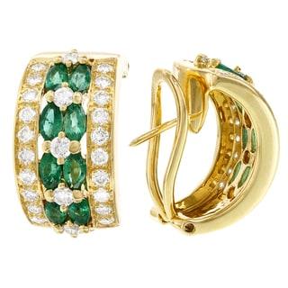 H Star 18k Yellow Gold Emerald and 1 3/5ct TDW Diamond Half Hoop Earrings (G-H, SI1-SI2)