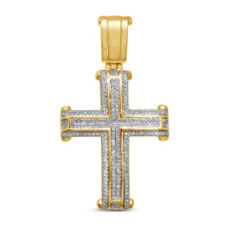 Unending Love 10k Yellow Gold Men's 5/8ct TDW Diamond Cross Pendant (I-J, I2-I3)