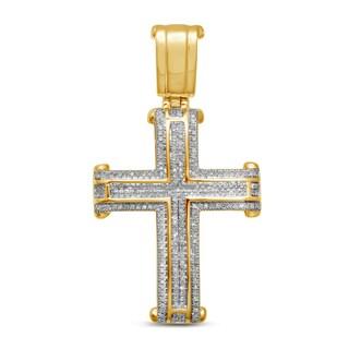 Unending Love 10k Yellow Gold Men's 5/8ct TDW Diamond Cross Pendant (I-J, I2-I3)
