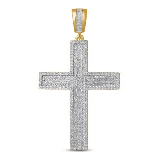 Unending Love 10k Yellow Gold Men's 1ct TDW Diamond Cross Pendant (I-J, I2-I3)