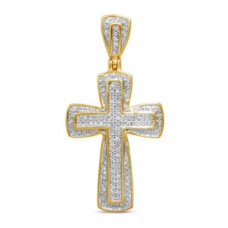 Unending Love 10k Yellow Gold Men's 1/4ct TDW Diamond Cross Pendant (I-J, I2-I3)