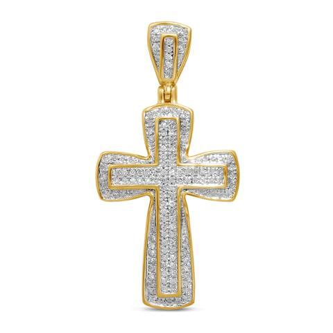 Unending Love 10k Yellow Gold Men's 1/4ct TDW Diamond Cross Pendant (I-J, I2-I3)