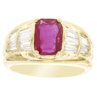 H Star 18k Yellow Gold Ruby and 1 1/10ct TDW Diamond Anniversary Band (SI1-SI2)