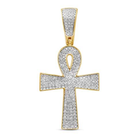 Unending Love 10k Yellow Gold Men's 1/2ct TDW Diamond Cross Pendant (I-J, I2-I3)
