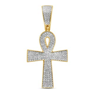 Unending Love 10k Yellow Gold Men's 1/2ct TDW Diamond Cross Pendant (I-J, I2-I3)|https://ak1.ostkcdn.com/images/products/13403345/P20099034.jpg?impolicy=medium