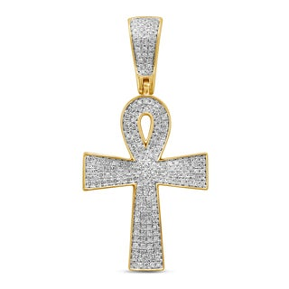 Unending Love 10k Yellow Gold Men's 1/2ct TDW Diamond Cross Pendant (I-J, I2-I3)