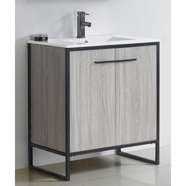 Vdara 30 Inch Grey Taupe Bathroom Vanity Cabinet Set