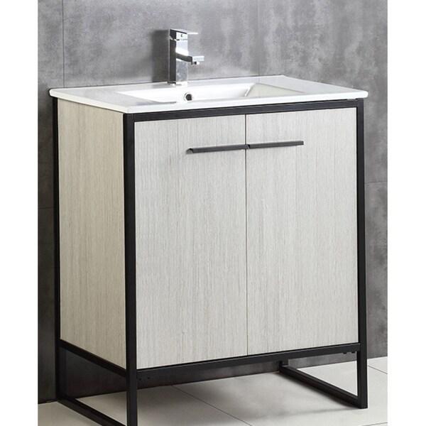 Shop Vdara 30 Inch Silver Gray Bathroom Vanity Cabinet Set Free Shipping Today