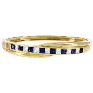 H Star 18k Yellow Gold 1 7/8ct TDW White Diamond and Sapphire Bangle Bracelet (E-F, VS1-VS2)