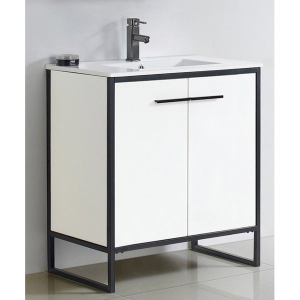 Shop Vdara 30 Inch White Bathroom Vanity Cabinet Set   Free Shipping Today    Overstock.com   13403381