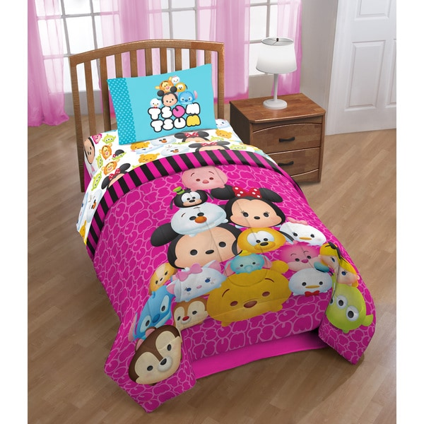 shop disney tsum tsum twin 4 piece bed in a bag with sheet set free shipping today overstock. Black Bedroom Furniture Sets. Home Design Ideas