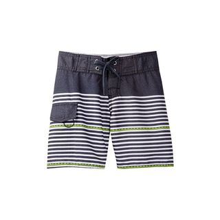 Boys' White, Blue, and Green Polyester Dotted-line-striped Board Shorts