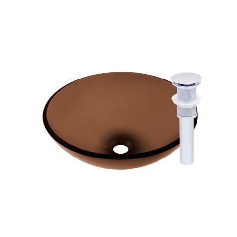 Novatto Ty Glass Vessel Bathroom Sink Set, Chrome