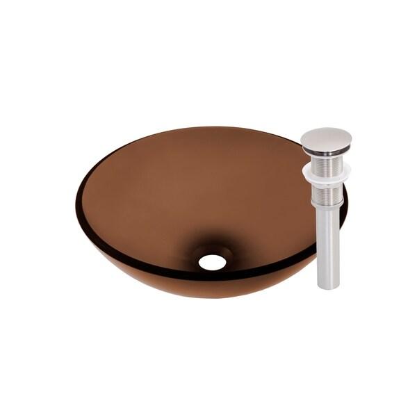 Novatto Ty Glass Vessel Bathroom Sink Set, Brushed Nickel