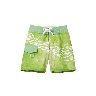School of Fish Green Polyester Board Shorts