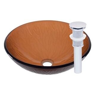 Novatto Gambo Glass Vessel Bathroom Sink Set, Chrome