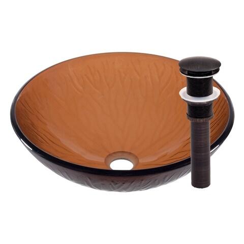 Novatto Gambo Glass Vessel Bathroom Sink Set, Oil Rubbed Bronze
