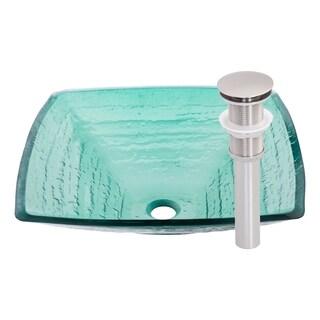 Novatto Sauna Glass Vessel Bathroom Sink Set, Brushed Nickel