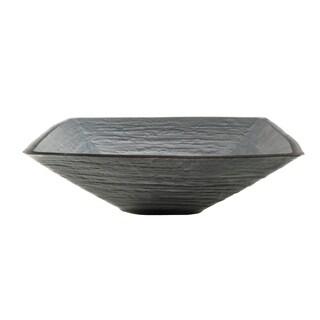 Novatto Croccante Glass Vessel Bathroom Sink Set, Brushed Nickel