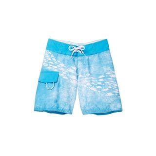 Boy's Blue Polyester School of Fish Board Shorts