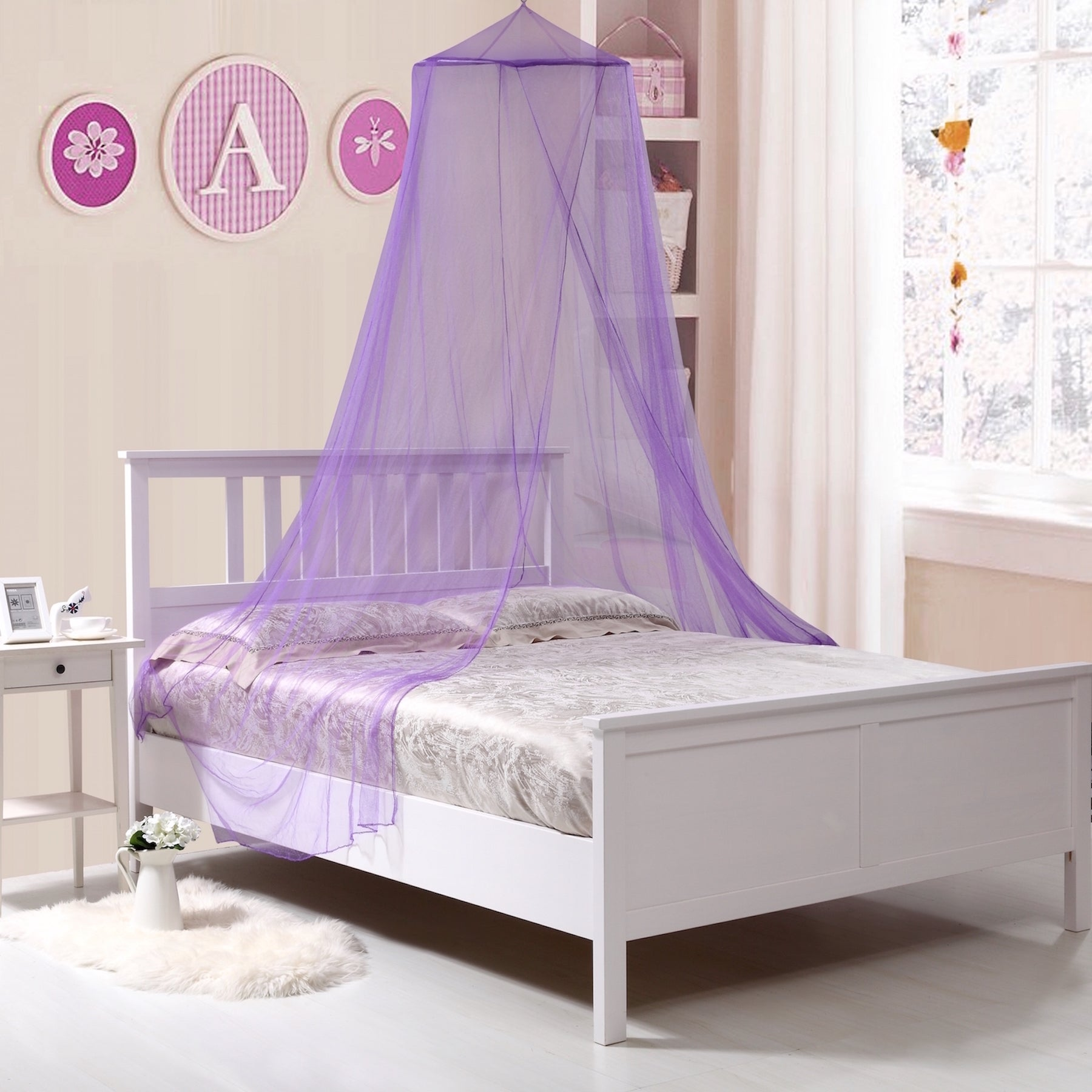 Kids Collapisble Wire Hoop Bed Canopy (Purple) (Polyester...