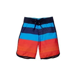 Back To Basics Boys' Red, Blue, and Navy Polyester Vertical-striped Board Shorts