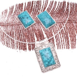 'Mayan Love' Faux Turquoise Choker Necklace and Earring Jewelry Set