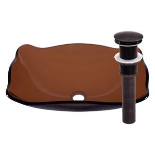 Novatto Marrone Glass Vessel Bathroom Sink Set, Oil Rubbed Bronze