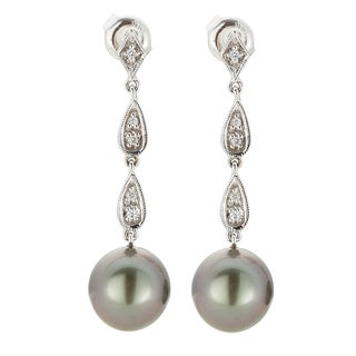 Kabella 14K White Gold Black Southsea Pearl and Diamond Dangle Earrings