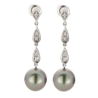 Kabella 14K White Gold Black Southsea Pearl and Diamond Dangle Earrings