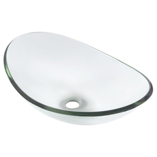 Novatto Chiaro Glass Vessel Bathroom Sink Set, Chrome