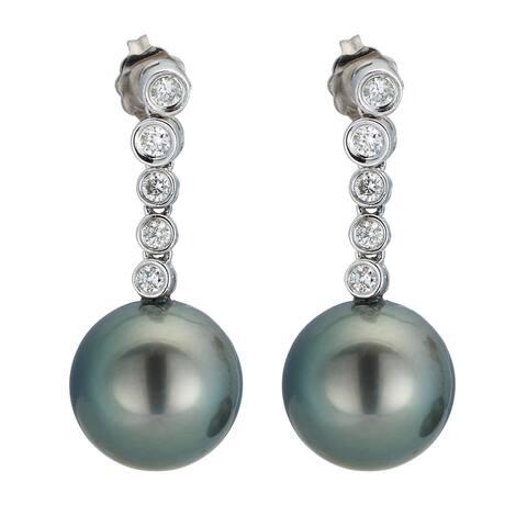 Kabella 14K White Gold Black Southsea Pearl and 2/5ct TDW Diamond Drop Earrings