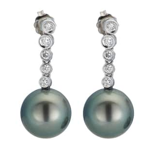 Kabella 14K White Gold Black Southsea Pearl and 2/5ct TDW Diamond Drop Earrings|https://ak1.ostkcdn.com/images/products/13403516/P20099163.jpg?impolicy=medium