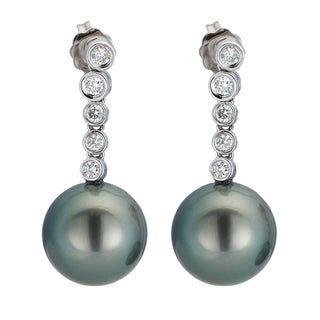 Kabella 14K White Gold Black Southsea Pearl and 2/5ct TDW Diamond Drop Earrings