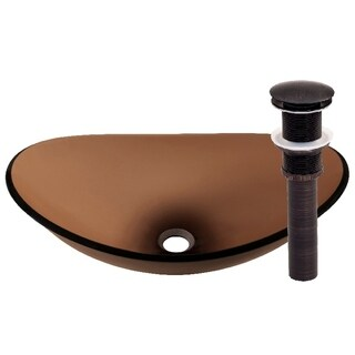 Novatto Babbuccia Glass Vessel Bathroom Sink Set, Oil Rubbed Bronze